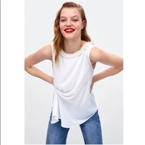 Zara White Draped Blouse Top Size Medium